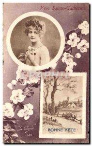 Old Postcard Fancy St. Catherine Bonne fete
