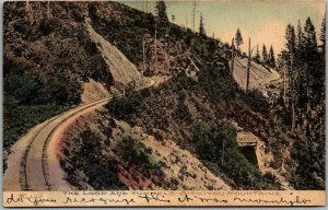 1910s CALIFORNIA Postcard Loop & Tunnels - Siskiyou Mountains HAND-COLORED