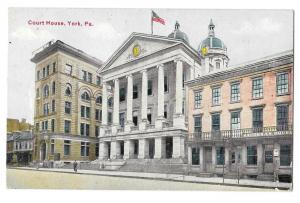 York PA County Court House Baughman House Hotel Postcard