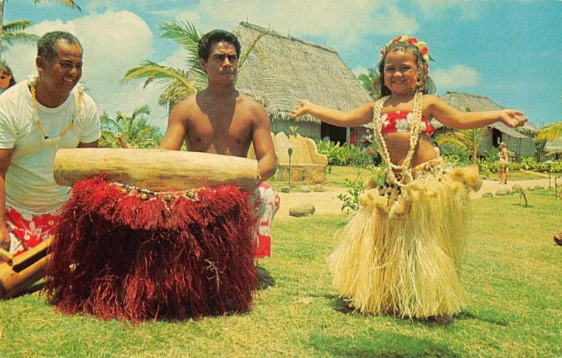 Polynesian Center Tahiti young girl Tahitian village dancing vintage pc Z18479