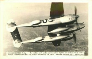 Aircraft 1940s WW2 Military RPPC Photo Postcard Lockheed Lightening P-38 7840
