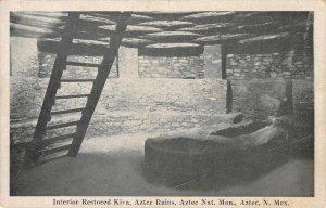 Interior Restored Kiva Aztec Ruins New Mexico Nat'l Monument Vintage Postcard