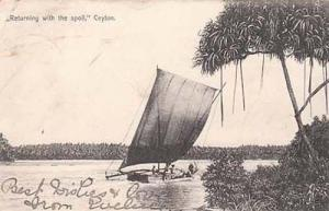 India Sea Ceylon Boat Ship Antique Rare 1905 Postcard