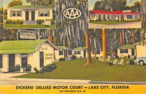 Lake City FL Dickens' Deluxe Motor Court Motel Linen Postcard