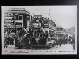 London Tram TRAMS IN MERTON LCC/LUT INTERCHANGE c1911 Pamlin Print Postcard M423