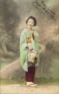 japan, Beautiful Smiling Geisha Lady in Kimono on Clogs (1906) Kanamaru Postcard