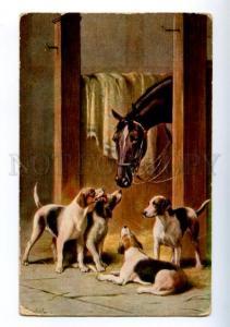 156623 HORSE POINTER Hunt in STABLE by REICHERT Vintage TSN PÑ
