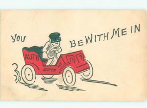 Pre-Linen Comic MAN SPEEDING IN ANTIQUE CAR AB9235