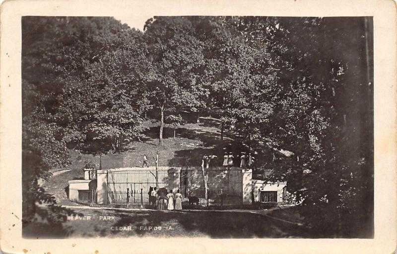 Cedar Rapids Iowa~Beaver Park Zoo~Animal Cage~1909 Real Photo Postcard RPPC