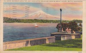Scenic Grandeur Along The Lake Washington Boulevard Showing Mount Rainier Sea...