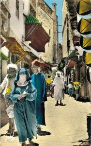 Morocco Fez One Street in Medina Vintage RPPC 07.32
