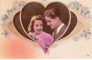 Romantic lovers couple heart flowers postcard