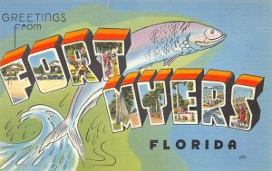 Greetings From Fort Myers FL Tichnor Bros. Publisher Postcard