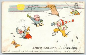 Gene Carr~Snow-Balling~Build Snowman~Dog~Rowdy Boys in Snowball Fight~1911