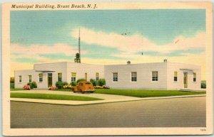BRANT BEACH, New Jersey Postcard Municipal Building Street View - Linen 1955