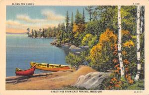 East Prairie Missouri Greetings Canoes on Shore Vintage Postcard JD933971