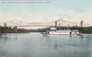 ALBANY, Oregon, 1900-1910's; Willamette River And Steel Bridge, Ship