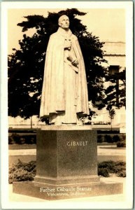Vincennes, Indiana RPPC Real Photo Postcard Father Gibault Statue 1930s Unused