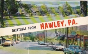 Pennsylvania Greetings From Hawley Showing Main Avenue and Lake Wallenpaupack