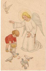 Guardian Angel with boy feeding doves Lovely vintage Spanish religious postcar