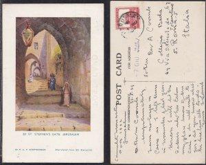 St Stephan's Gate Israel Palestine British Mandate PC 1939 Jerusalem to Italy