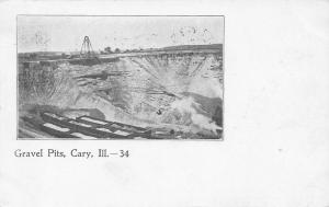 Cary Illinois~Meyer-Lafarge Gravel Pits~Mining~Box Cars~Series #34~1905 B&W PC