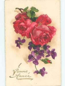 Very Old Foreign Postcard BEAUTIFUL FLOWERS SCENE AA5015