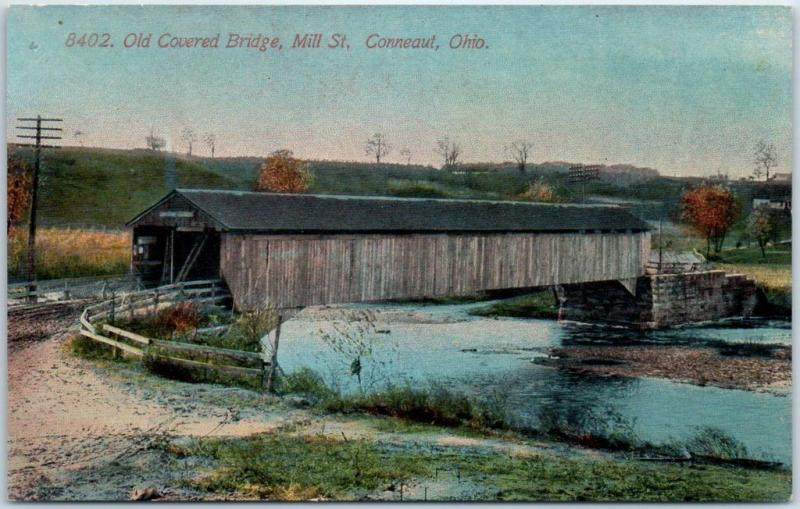 Conneaut, Ohio Postcard Old Covered Bridge, Mill Street Acmegraph 1910s Unused
