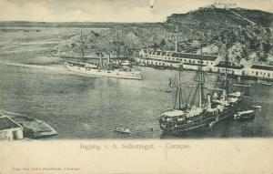 curacao, N.W.I., WILLEMSTAD, Entrance Schottegat Harbour, Steamer (1899)
