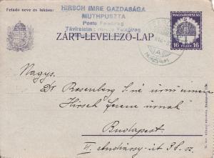 HUNGARY 1930 CLOSED POSTAL STATIONERY (ZART-LEVELEZO-LAP) FELSOIREG TO BUDAPEST