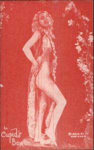 Nude Sexy Showgirl Pin-Up Exhibit Mutoscope Card RED TINT SERIES CUPIDS BOWER