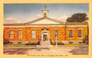 Cuyahoga Falls Ohio~Folk Leaving US Post Office 1940s Dexter Linen Postcard
