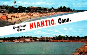 Connecticut Niantic Greetings From Showing Crescent Beach Naintic Bay and Rai...
