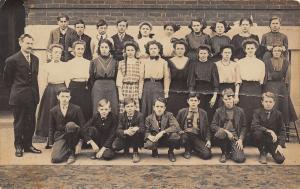 Elkhart Indiana~Inbody RPPC~School Class~Boys w/Letter Shirts~Buns & Bows c1910