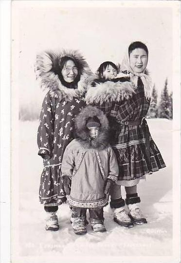 Alaska Fairbanks Eskimos In Calico Parkas Real Photo RPPC