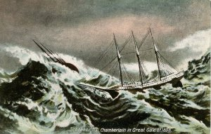 Schooner H.H. Chamberlain in Great Gale of 1898