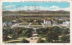 Colorado Denver Civic Center From Capitol Dome Mount Evans In Distance 1928