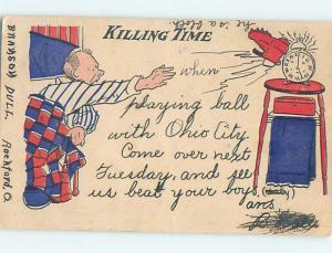 Pre-1907 comic KILLING TIME - MAN BREAKS HIS ALARM CLOCK HL2126