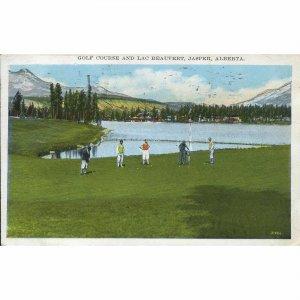 Valentine Edy Co. Ltd. Postcard 'Golf Course and Lac Beauvert, Jasper, Alberta'