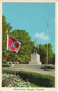 Memphis TN, Confederate Battle Flag, Civil War Monument. Nathan Bedford Forest