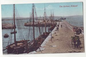 P895 old card ships people horses and carts kirkwall the harbor great britain