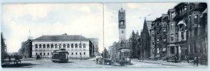 Double Postcard BOSTON, MA ~ Street Scene COPLEY SQUARE Trolley 1910s Rotograph