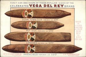 Vega Del Rey Cigars Wm A Stickney Dist Kinloch Continental Adv c1915 PC gfz
