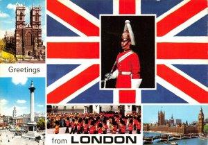 London Postcard, Multi View, Trafalgar, Westminster Cathedral, Gurards etc. 94V