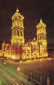 Puebla Cathedral At Night Mexico Postcard