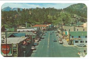 USA, Elkhorn Avenue and business district, Estes Park, Colorado, unused Postcard