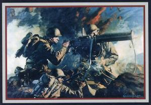 Military WWII - Infantry Machine Gun Crew Poster  (Repro)