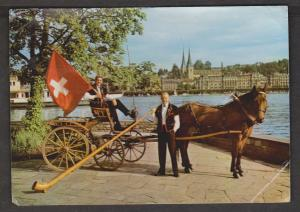 Horse & Carriage, Lucerne - Used In UK 1969 - Corner Creases