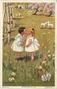 Mary Sigsbee-Ker~Springtime~Children Kiss in Field of Twos~Lambs~Bunnies~Birds