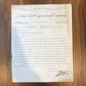 JOHN WAGNER BREWING LETTER -  Link-Belt Engineering Co - RARE - NEW YORK - 1903